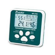 ProsKit The compact size meter features 5 in 1 multifunctions Temperature, Humidity, Clock, Alarm clock, Snooze & Calendar