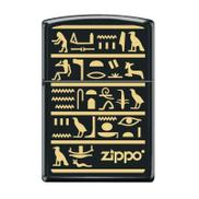Zippo Hieroglyphics Stone Finish Lighter Black ZL400082