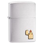 Zippo Gold Emblem Lighter Silver ZP-29102