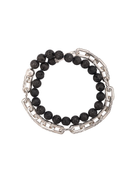 John Hardy Silver Classic Chain Volcanic Bead Double Wrap Bracelet with Hook Clasp