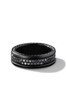 David Yurman Streamline two-row black diamond band ring