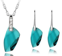 Ninabox Female White Gold Plated Swarovski Elements Blue Crystal Pendant Necklace & Earrings Set Model T000073