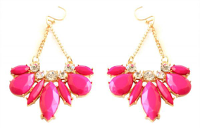 Glitz 161 Dangle Earring For Women-Gold Pink