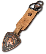 Proton's car logo key-chain with oxidized copper plated