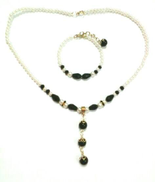 Other White Pearl Black Beads Necklace Bracelet Set for Women