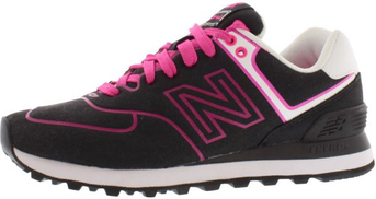 New Balance 574 Neon Running Shoes for Women, Black Pink Violet
