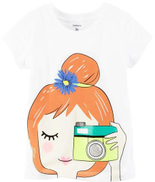 Carters White Round Neck T-Shirt For Girls