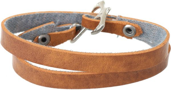 Other Mens Leather Strap Wrap Bracelet with Metal Lock