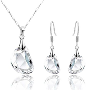Set Jewelry Shaped Pea Crystal - White Gold Plated