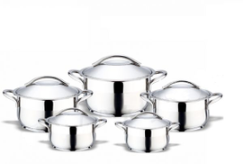 Bonera Stainless Steel Cookware Set - 10 Pcs