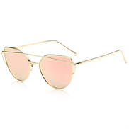 SOJOS Cat Eye Mirrored Flat Lenses Street Fashion Metal Frame Women Sunglasses - Pink Lens, SJ1001