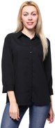 Chica Semi-Concealed Placket Three-Quarter Roll-Tab Sleeves Crinkle Shirt for Women - Black