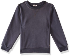 Giggles Round-Neck Ribbed-Trim Solid Pullover for Boys - Dark Grey, 12 Years