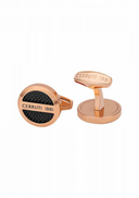Cerruti 1881 Gold Plated Stainless Steel Two-Tone Patterned Cufflinks for Men - Black and Rose Gold
