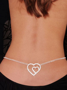 Double Heart Rhinestone Belly Chain and Lower Back For Women (Silver)