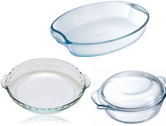 Pyrex 020304868 Set Of 4- Cassrole With Lid Oval Roaster With Handle Dessert Plate 21cm