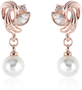 LZESHINE 18k Rose Gold Plated Pearl Made With Austrian Crystal Stud Earring Model ITL-ES0063