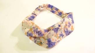 Hair hoop from Cotton Off White color Printed by purple Flowers item NO 430 - 23