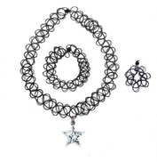 Black Magic Tattoo with ST Double Star Charm Choker, Bracelet and Ring Set