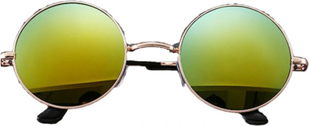 Other Sunglasses Round Frame Gold Lenses Gold Color Mirror Item No 626 - 2