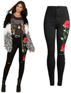 3D Flower Skinny Jeans Pant For Women