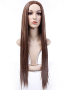 Fashion female brown long straight wig Middle spilt bangs soft hair for cosplay -f2c
