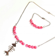 Other Women's Pink Crew and Fish Necklace Bangle Necklace