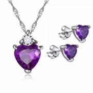 Other Romantic Love Heart Purple Crystal Collection - 925 Silver Plated