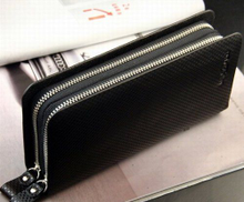 Big Mango Multi-purpose Business Leather Clutch Bag 2 Zipper Wallet Multiple Card Holders Black