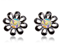 ROXI Brand Earring with triple layers of White Gold Plating and Polymer Clay