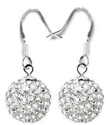 Generic A stud earrings silver plated silver color decorated with lobes Crystal Diamond