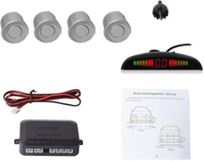 Car Auto Vehicle Visual Backup Radar System with 4 Parking Sensors + Distance Info Video Output + Sound Warning Silver Color