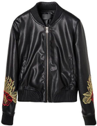 Embroidery Floral Biker Jacket For Women - 2724488425404