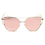DFSP Womens Mirrored Flat Lens Metal Frame Cat Eye Sunglasses Gold Frame Pink Lens