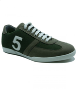 roadwalker Textile Leather-accent Number 5 Stitched Lace-Up Sneakers for Men - olive