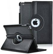 Black PU Leather 360 Degree Rotating Stand Case Cover for IPAD -2-3-4