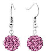 Other 925 Silver Plated Ball Earrings Pink Color