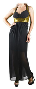 FG Black Chiffon Special Occasion Dress For Women