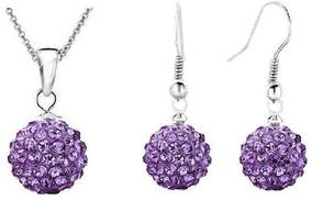 Set contract and silver plated Earrings Purple for women