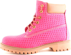 DarkWood Pink Lace Up Boot For Women