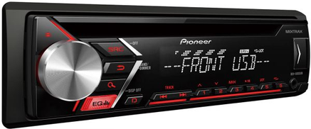 Pioneer 50X4 CD-Receiver, MP3, WMA, Front-AUX & USB, 3 Pre-Out with Remote, RDS, Subwoofer Control - DEH-S1053UB