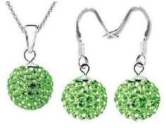 Set contract and plated Earrings Silver Green Light for women