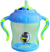 true two handle cup with flip straw 6 months - 250 ml blue and green - BPA free