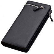 Geteniu Black Leather For Men - Zip Around Wallets