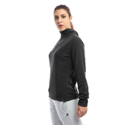 Diadora Slim Warm Half Zipped Sweatshirt For Women - Black