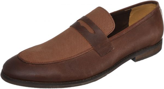 Steps Genuine Leather Round Toe Perforated Vamp Two-Tone Penny Loafers for Men - Brown