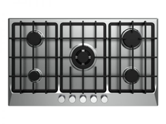 Fresh HAFR90CMSC1 BL Stainless Steel Built-in Hob, 5 Gas Burners, 60 x 90 cm - Black and Silver