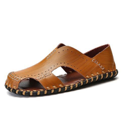 Fashion Men's Outdoor Leather Beach Shoes-Brown