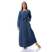 Esla Embroidered Buttoned Shirt Dress With Belt - Dark Blue Jeans