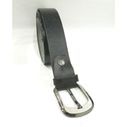 Generic Classic Textured Leather Metal Loop Belt - Black